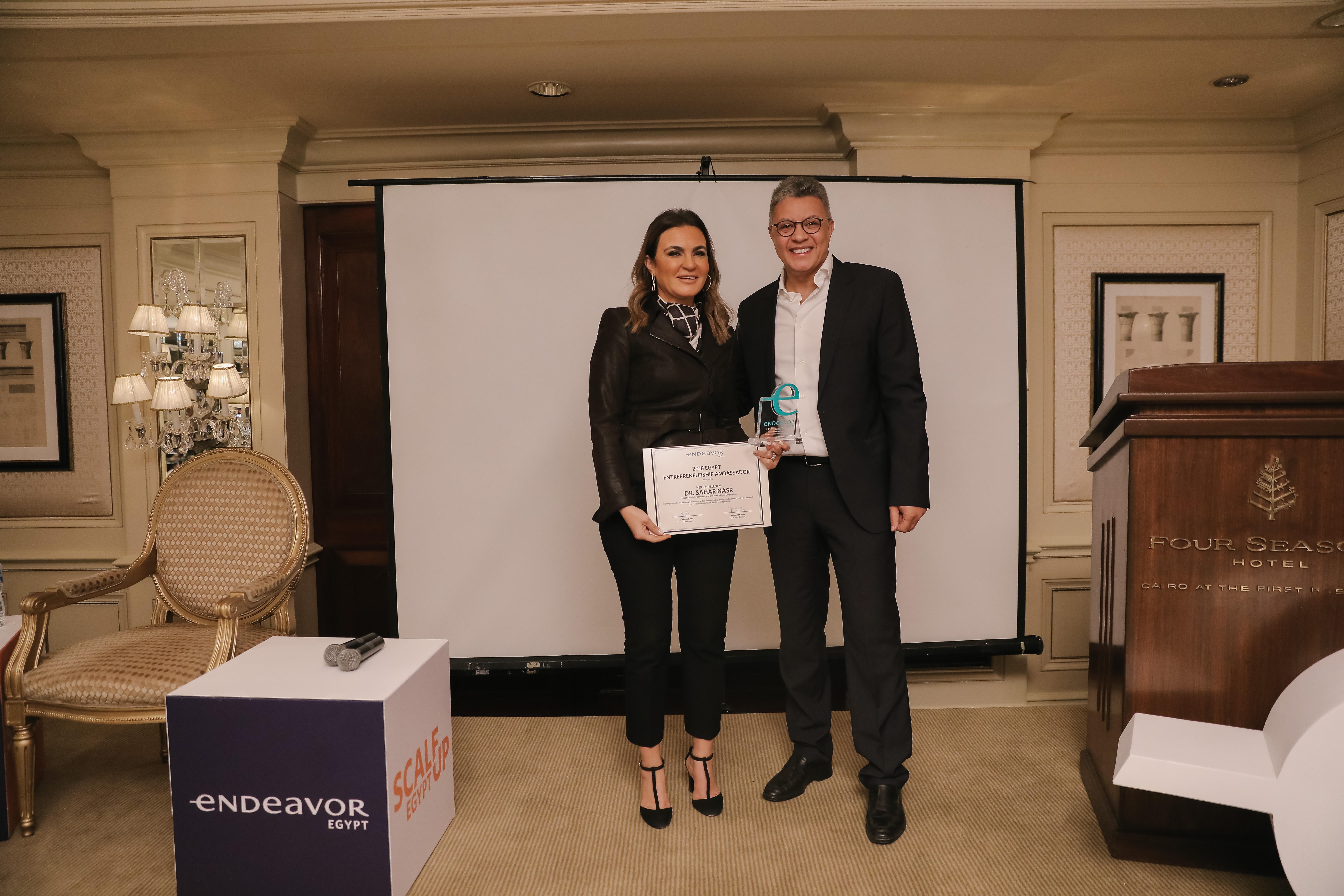 H.E. Dr. Sahar Nasr is honored as 2018 Egypt Entrepreneurship Ambassador