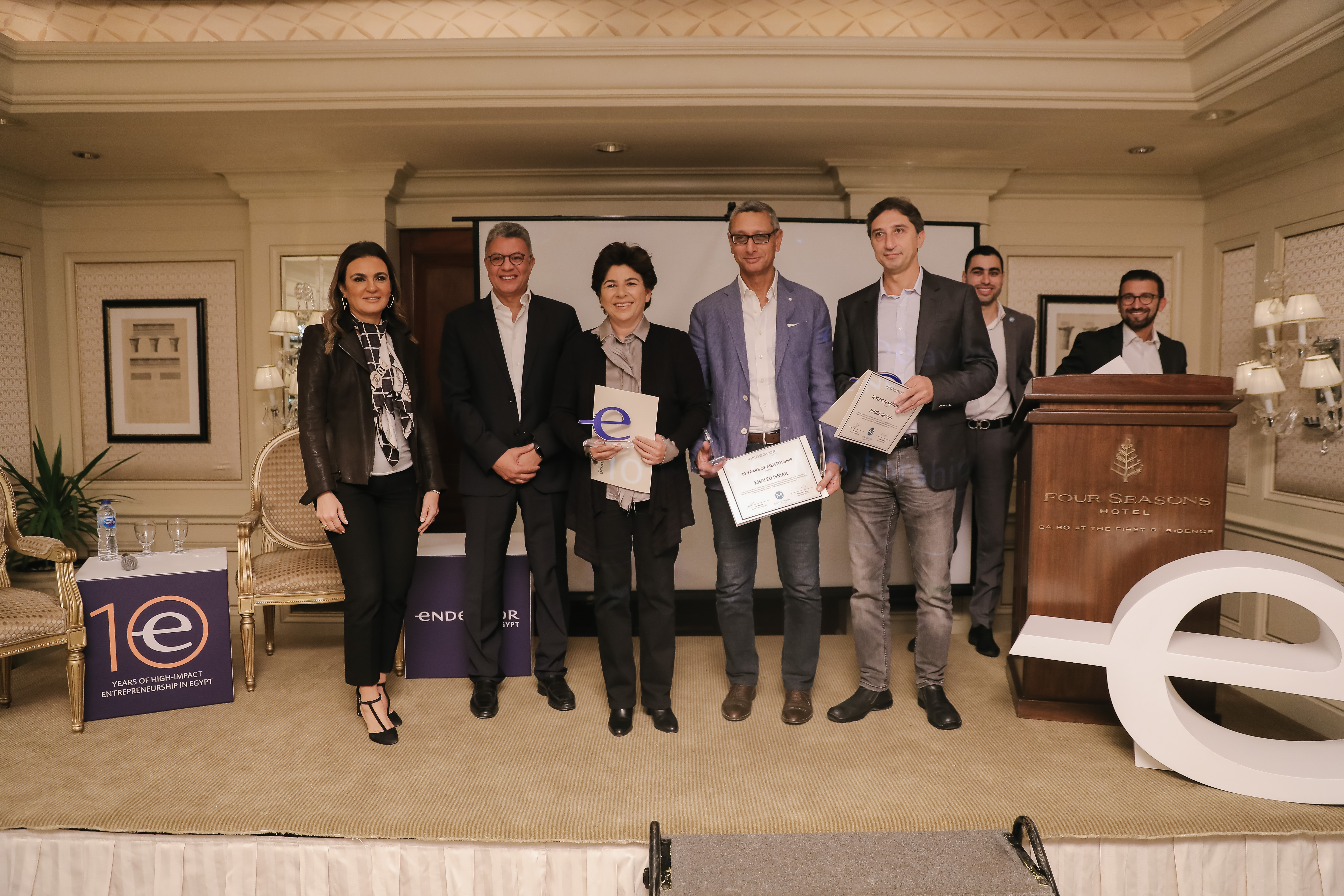 Endeavor Mentors Khaled Ismail, Randa Abdou and Ahmed Abdoun received 10 Years of Mentorship Awards.